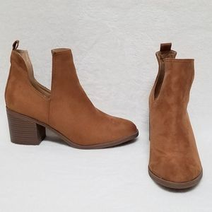 Jolimall Chesnut Brown Cut Out Heeled Booties 10